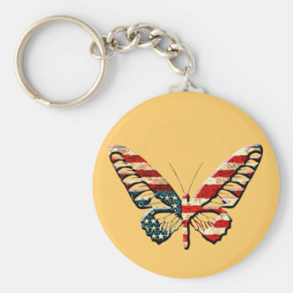 American Butterfly Basic Round Button Keychain