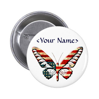 American Butterfly Pinback Buttons