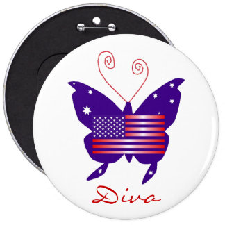 American Butterfly Diva Pinback Buttons