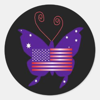 American Butterfly Diva Round Sticker