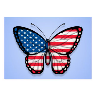 American Butterfly Flag on Blue Business Card Template