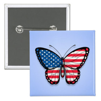 American Butterfly Flag on Blue Pin