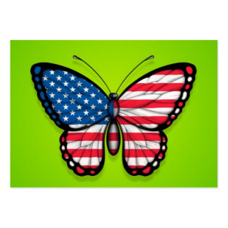 American Butterfly Flag on Green Business Cards