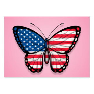 American Butterfly Flag on Pink Business Card Template