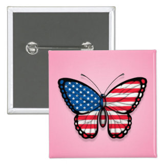 American Butterfly Flag on Pink Pinback Button