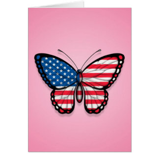 American Butterfly Flag on Pink Greeting Card