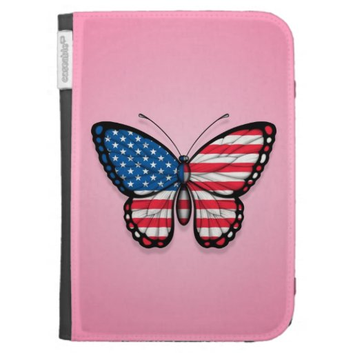 American Butterfly Flag on Pink Kindle Cases