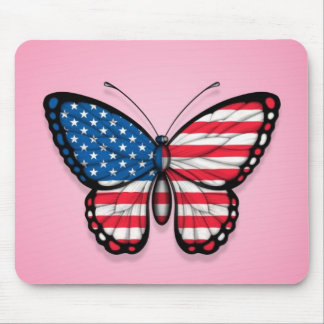 American Butterfly Flag on Pink Mousepads
