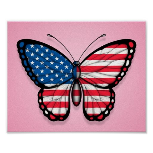 American Butterfly Flag on Pink Print