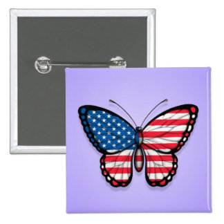 American Butterfly Flag on Purple Button