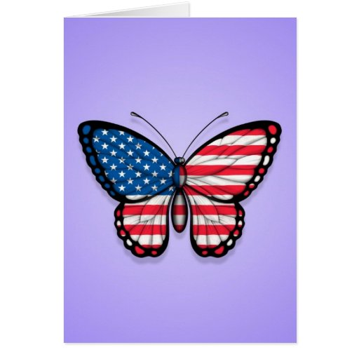 American Butterfly Flag on Purple Greeting Cards