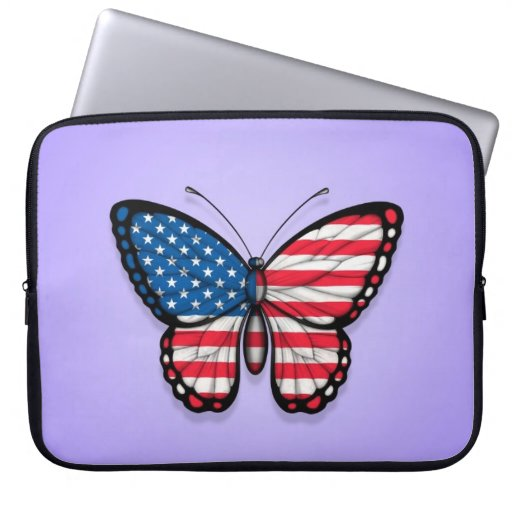 American Butterfly Flag on Purple Laptop Computer Sleeve