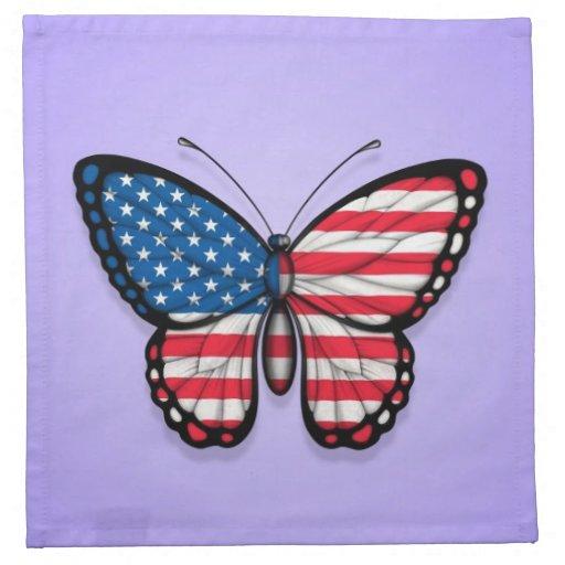 American Butterfly Flag on Purple Napkin