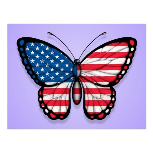 American Butterfly Flag on Purple Postcards