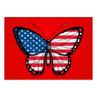 American Butterfly Flag on Red Business Cards