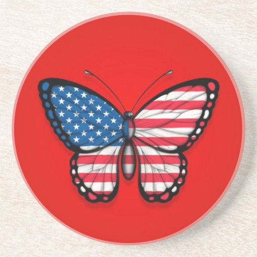 American Butterfly Flag on Red Beverage Coaster