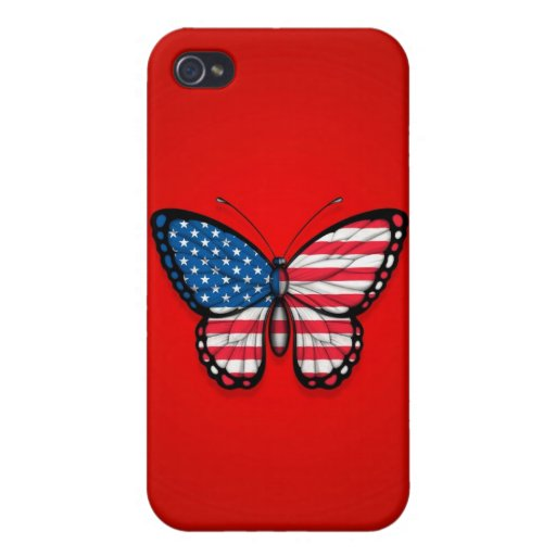American Butterfly Flag on Red iPhone 4/4S Cover
