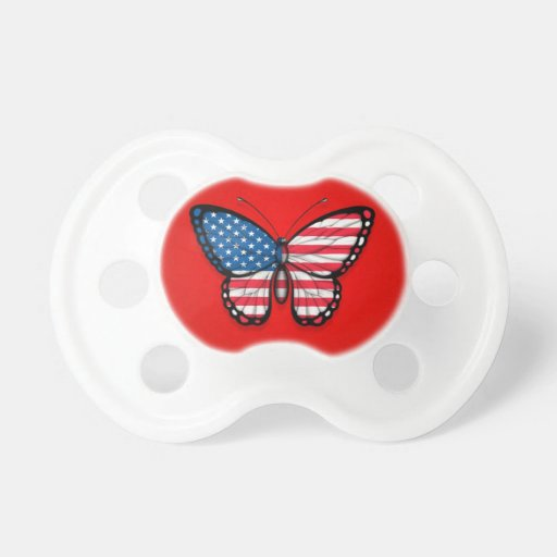 American Butterfly Flag on Red Baby Pacifiers