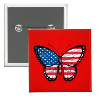 American Butterfly Flag on Red Pinback Button