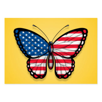 American Butterfly Flag on Yellow Business Card Templates