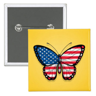 American Butterfly Flag on Yellow Button