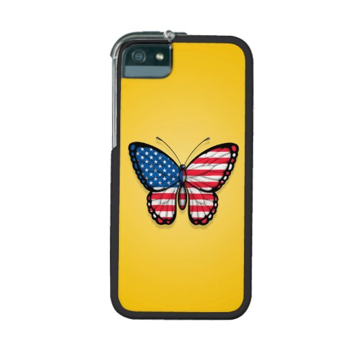 American Butterfly Flag on Yellow iPhone 5 Case