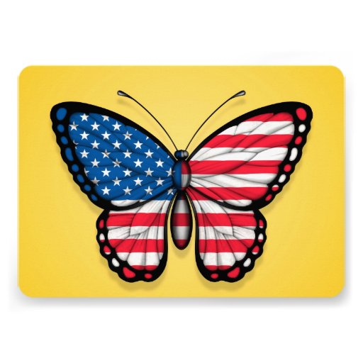 American Butterfly Flag on Yellow Personalized Invitation