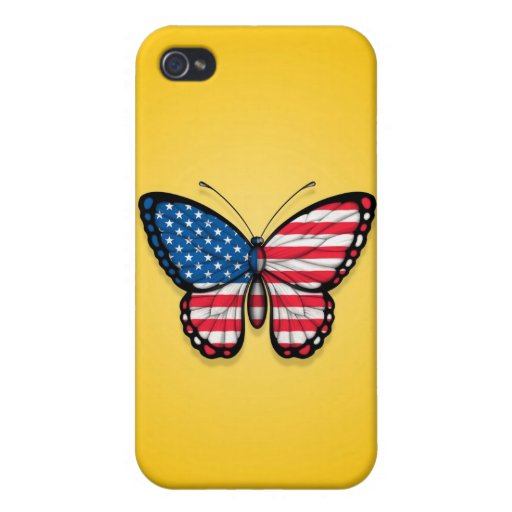 American Butterfly Flag on Yellow iPhone 4/4S Cover