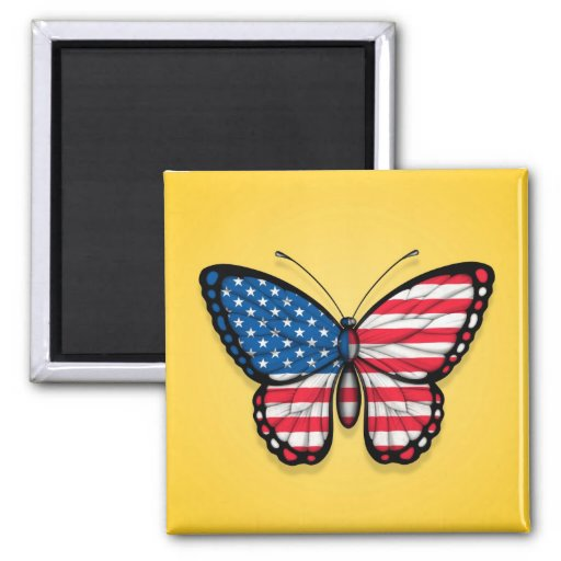 American Butterfly Flag on Yellow Fridge Magnet