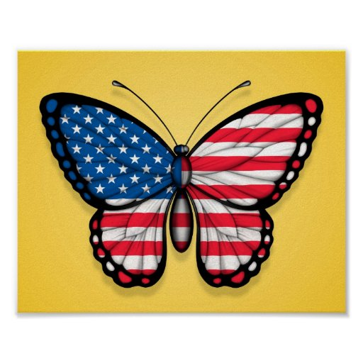 American Butterfly Flag on Yellow Poster