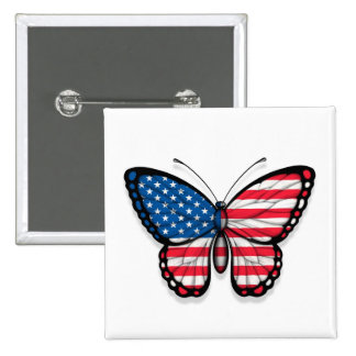 American Butterfly Flag Pinback Button