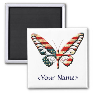 American Butterfly Square Magnet