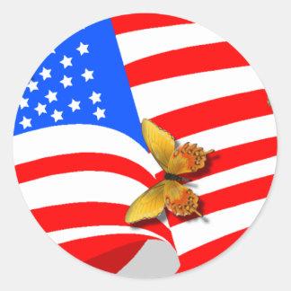 American Butterflys Round Sticker