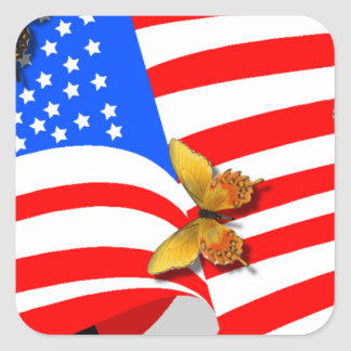 American Butterflys Square Sticker