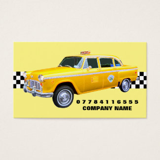 American Cartoon Style Yellow Taxi Cab And Strip Business Card