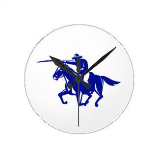 American Cavalry Charging Retro Round Clock