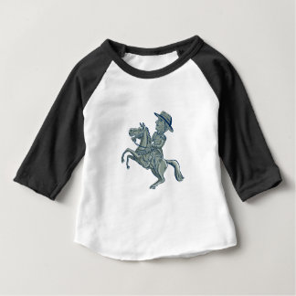 American Cavalry Officer Riding Horse Prancing Car Baby T-Shirt