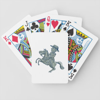 American Cavalry Officer Riding Horse Prancing Car Bicycle Playing Cards