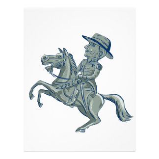 American Cavalry Officer Riding Horse Prancing Car Letterhead