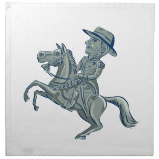 American Cavalry Officer Riding Horse Prancing Car Napkin