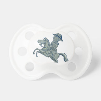 American Cavalry Officer Riding Horse Prancing Car Pacifier