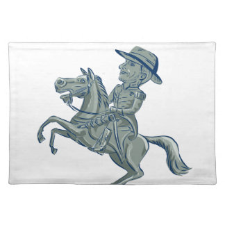 American Cavalry Officer Riding Horse Prancing Car Placemat