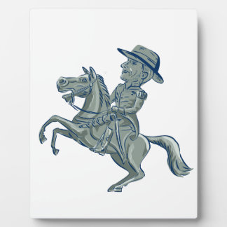 American Cavalry Officer Riding Horse Prancing Car Plaque