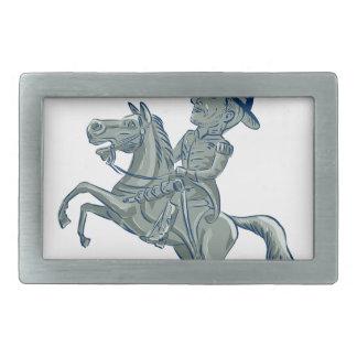 American Cavalry Officer Riding Horse Prancing Car Rectangular Belt Buckles