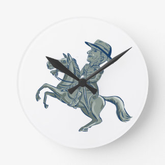 American Cavalry Officer Riding Horse Prancing Car Round Clock