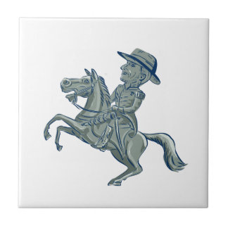 American Cavalry Officer Riding Horse Prancing Car Tile