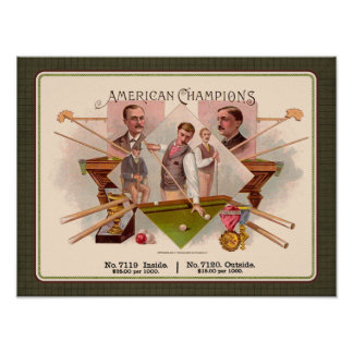 American Champions Billiards Vintage Cigar Label Poster
