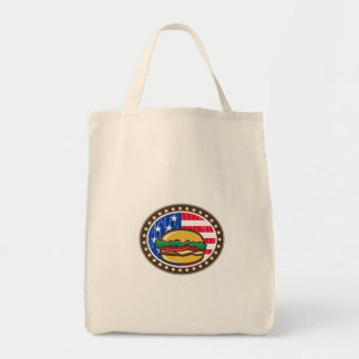 American Cheeseburger USA Flag Oval Cartoon