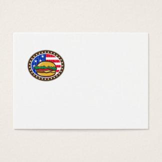 American Cheeseburger USA Flag Oval Cartoon Business Card