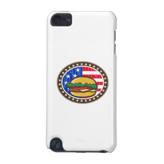 American Cheeseburger USA Flag Oval Cartoon iPod Touch (5th Generation) Case